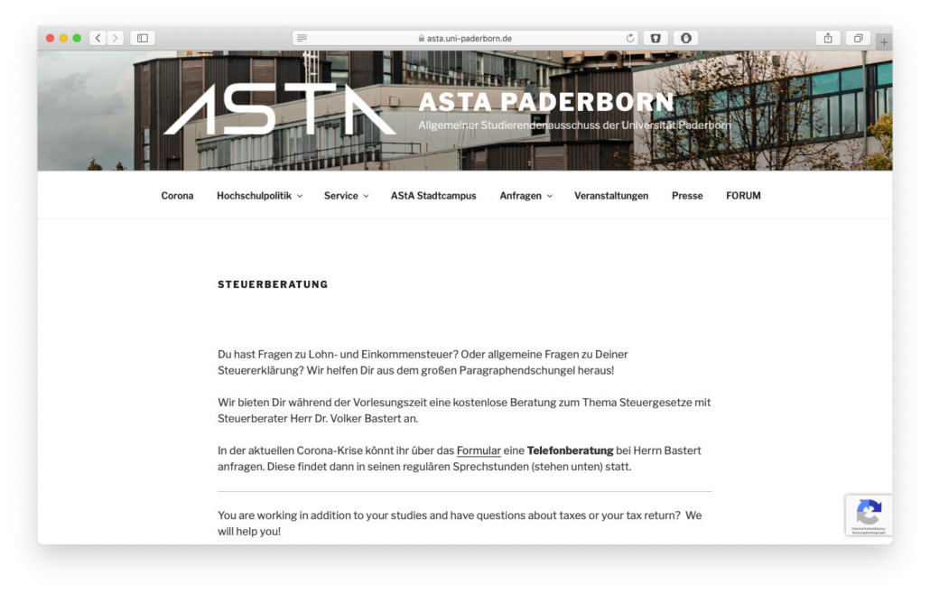 Screenshot ASTA Paderborn