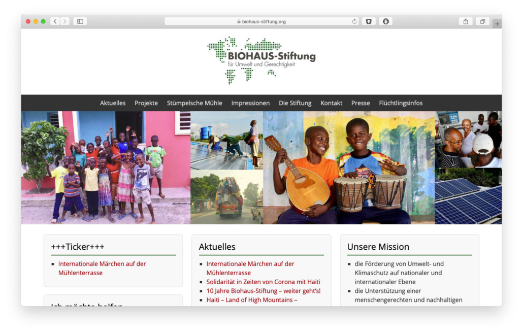 Screenshot Biohaus Stiftung